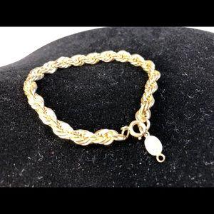 Vintage Napier Gold Toned Rope Bracelet Signed